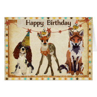 Fox, Dog, Fawn, & Little Birds Birthday Card
