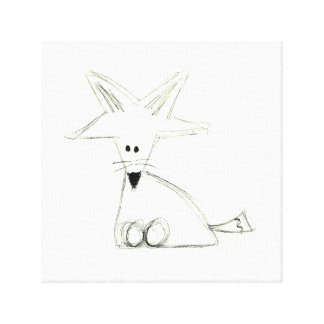 fox doodle black white gray simple kids drawing canvas print