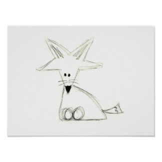 fox doodle black white gray simple kids drawing poster