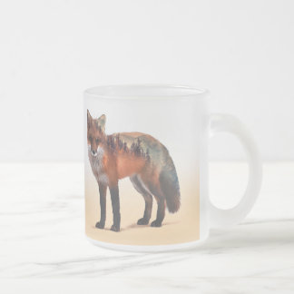 Fox double exposure - fox art - red fox - wildfox frosted glass coffee mug