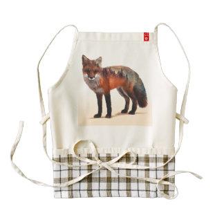 Fox double exposure - fox art - red fox - wildfox zazzle HEART apron