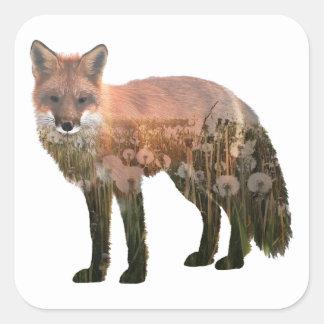 Fox Double Exposure Square Sticker