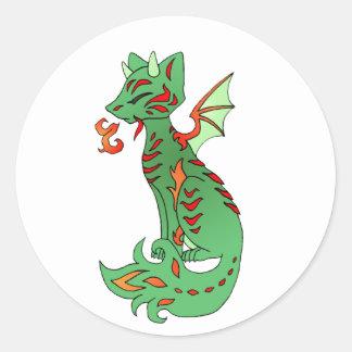 Fox Dragon Classic Round Sticker