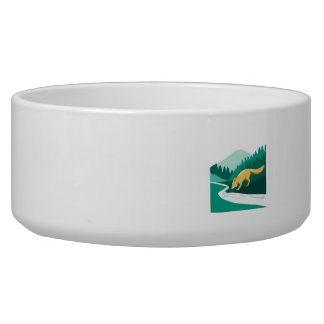 Fox Drinking River Creek Woods Square Retro Bowl