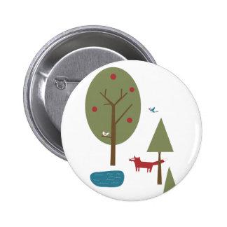 Fox en el bosque pin redondo 5 cm