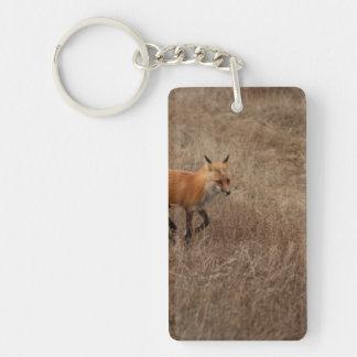 Fox en el funcionamiento llavero rectangular acrílico a una cara