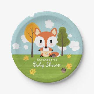 Fox en fiesta de bienvenida al bebé de los pañales plato de papel de 7 pulgadas
