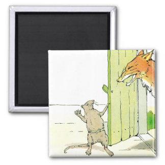 Fox en la puerta imán cuadrado