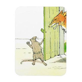 Fox en la puerta iman de vinilo