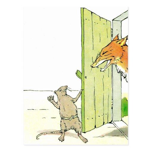 Fox en la puerta tarjetas postales