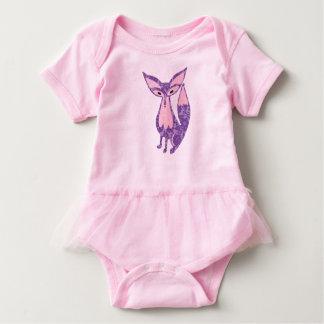 Fox en púrpura y rosado de encaje body para bebé