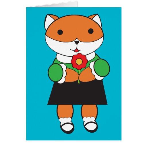 Fox en tarjeta del vestido