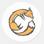 Fox encrespado pegatina redonda
