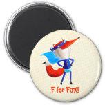 Fox estupendo imán redondo 5 cm