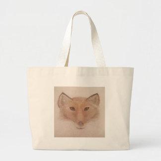 Fox face large tote bag