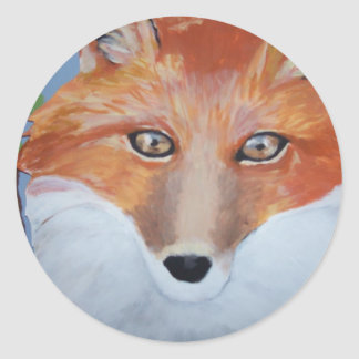 Fox face painting by Gwen Billips Classic Round Sticker