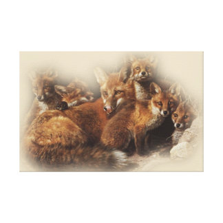 Fox Family Canvas Print