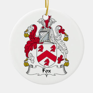 Fox Family Crest Double-Sided Ceramic Round Christmas Ornament