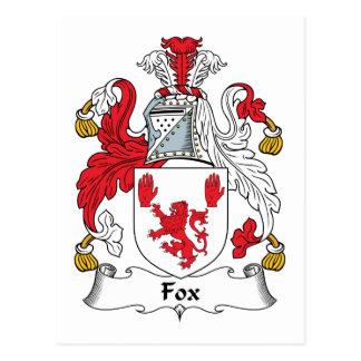 Fox Family Crest Postcard