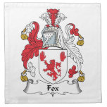 Fox Family Crest Printed Napkin