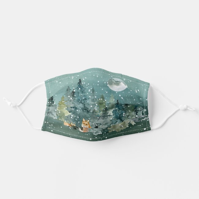Fox Family in Forest Full Moon Snowfall Adult Cloth Face Mask