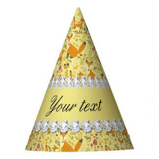 Fox Faux Gold Foil Bling Diamonds Party Hat