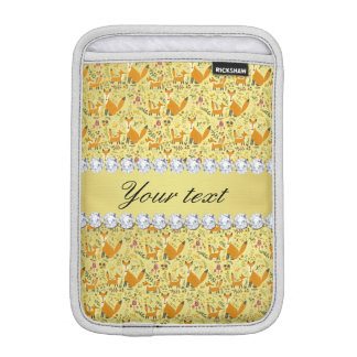 Fox Faux Gold Foil Bling Diamonds Sleeve For iPad Mini