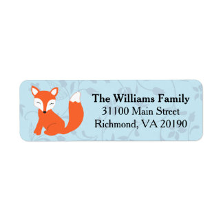 Fox floral azul del bebé etiquetas de remite
