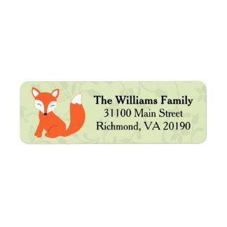 Fox floral verde del bebé etiqueta de remitente