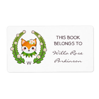 Fox Floral Wreath This Book Belongs To Label