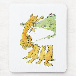 Fox & Four Kits Spy a House on a Hill Mouse Pad