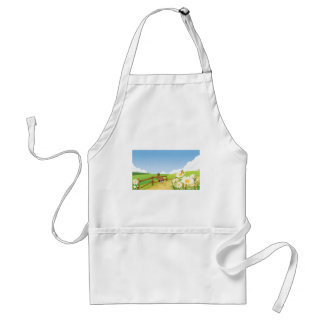 Fox Foxes Summer Blue Sky Nature Happy Flower Cute Aprons