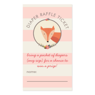 Fox Girl Baby Shower Games Diaper Raffle Ticket Double-Sided Standard Business Cards (Pack Of 100)