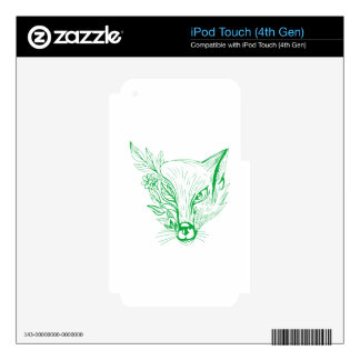 Fox Head With Flower and Leaves Drawing iPod Touch 4G Skin