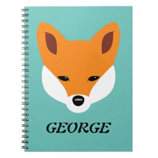 Fox hermoso libro de apuntes con espiral