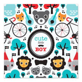Fox hipster lion baby boy announcement baby shower
