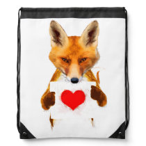 Fox holding a Heart – I Love You! Drawstring Backpack