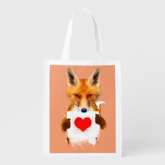 Fox holding a Heart – I Love You! Grocery Bags