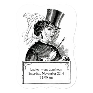 Fox Hunt Club Lady Lunch Party Vintage Equestrian 5x7 Paper Invitation Card