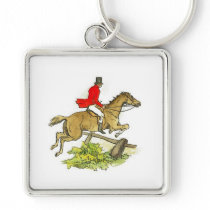 Fox Hunt Jumper Hunter Horse Riding Keychain
