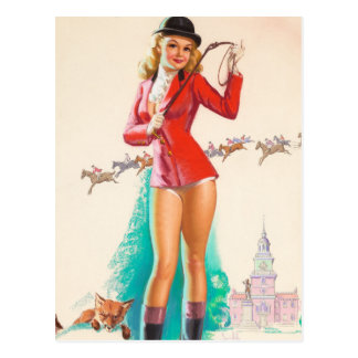 Fox Hunt Pin Up Art Postcard