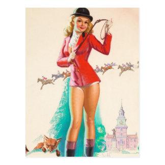 Fox Hunt Pin Up Art Postcard