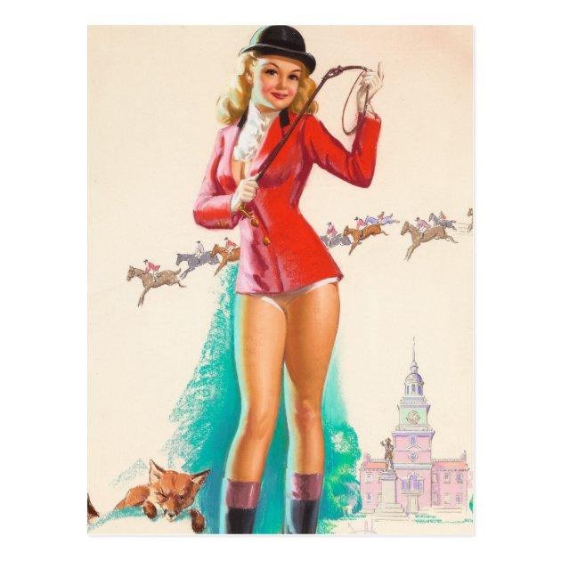 sc 1 st  Zazzle & Fox Hunt Pin Up Art Postcard | Zazzle.com