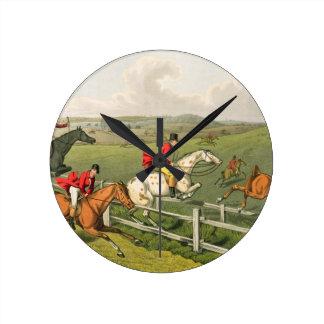 Fox Hunting, aquatinted by I. Clark, pub. by Thoma Round Wall Clock