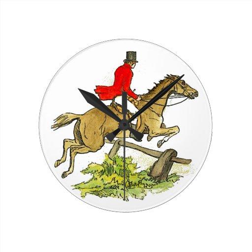 Fox Hunting Hunter Jumper Horseback Riding Round Clock