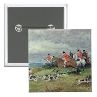 Fox Hunting in Surrey, 19th century 2 Inch Square Button