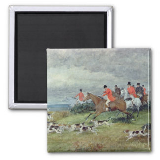 Fox Hunting in Surrey, 19th century 2 Inch Square Magnet