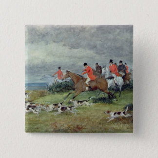 Fox Hunting in Surrey, 19th century Button