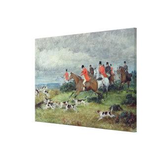 Fox Hunting in Surrey, 19th century Canvas Print