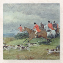 Fox Hunting in Surrey, 19th century Glass Coaster